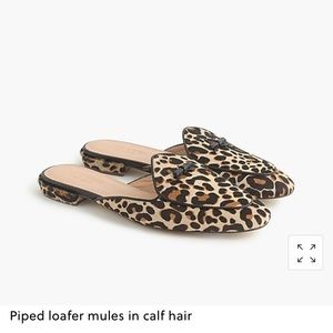 J. Crew Collection Piped Leopard Calf Hair Mules